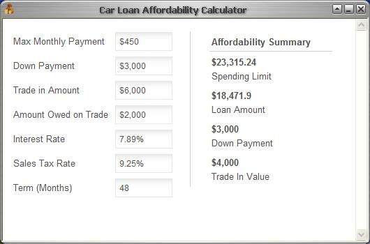 Click to view CLC Car Loan Affordability Calculator 1.0 screenshot